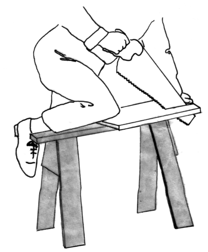diagram showing how to use a saw bench